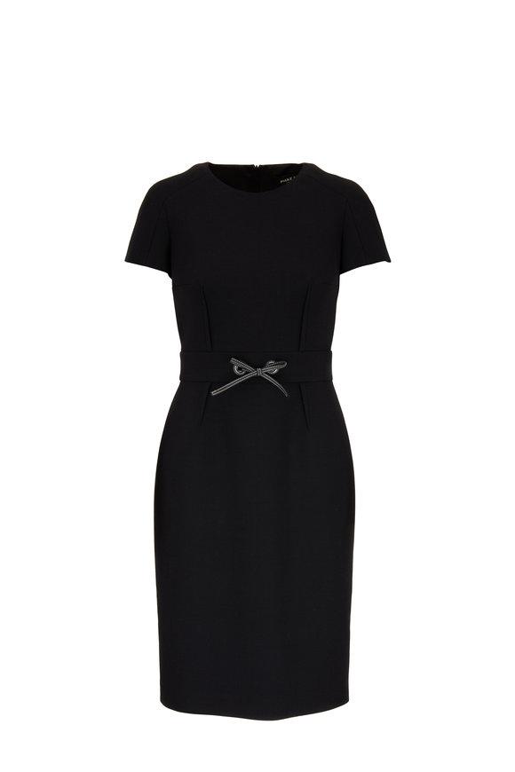 Paule Ka Black Short Sleeve Sheath Dress