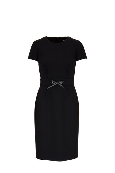Paule Ka - Black Short Sleeve Sheath Dress