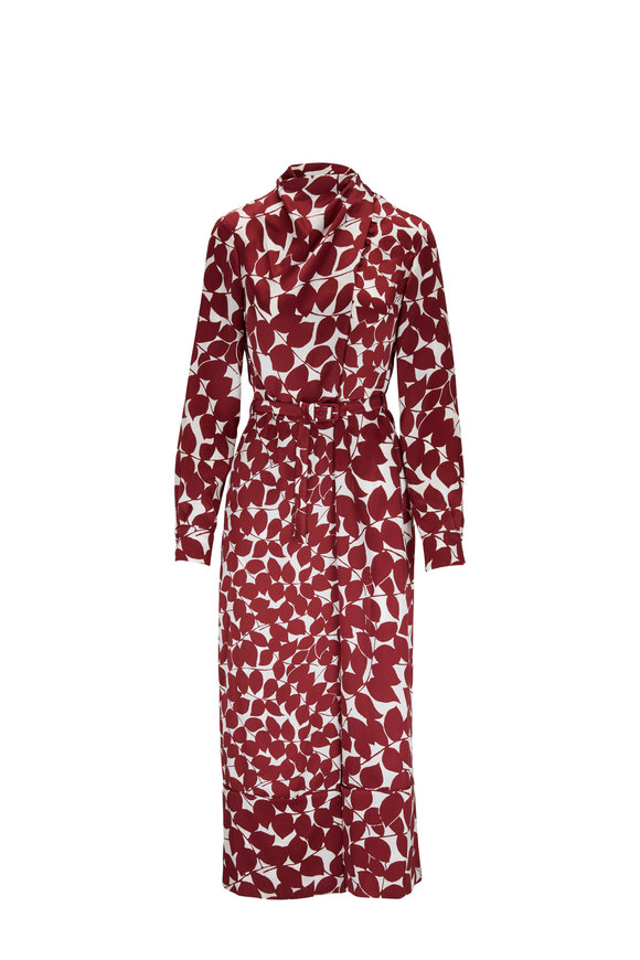 Gabriela Hearst Josefina Maroon Foliage Print Long Sleeve Dress