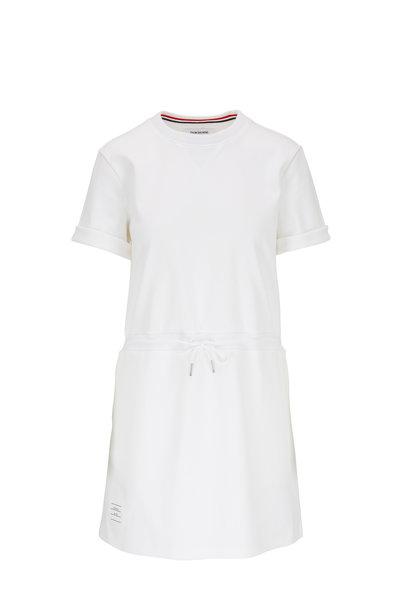 Thom Browne - White Cotton Drawstring T-Shirt Dress