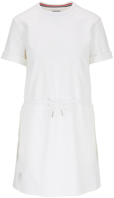 Thom Browne White Cotton Drawstring T-Shirt Dress