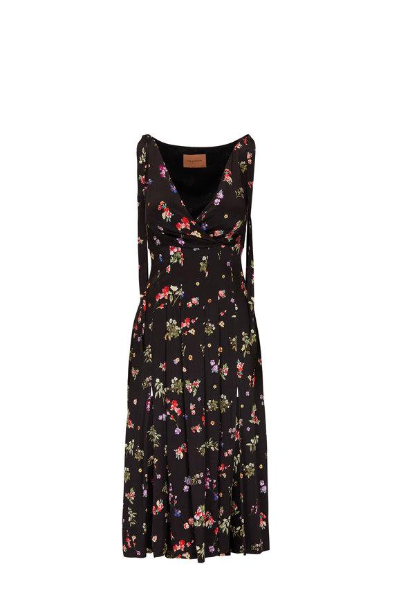 Andamane Abito Black Multi Floral Sleeveless Midi Dress