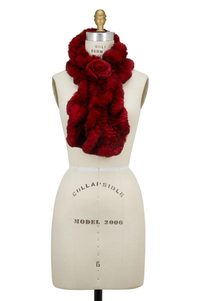 Viktoria Stass - Red Fur Flower Loop Scarf