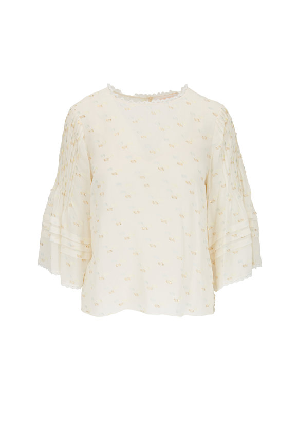 See by Chloé Ivory Lurex Three-Quarter Sleeve Blouse