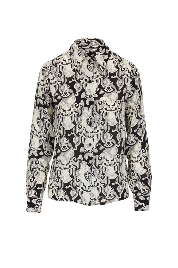 See by Chloé Black & Ivory Printed Silk Blouse
