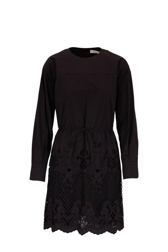 See by Chloé Black Poplin Eyelet Hem Day Dress