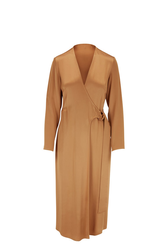 Sally LaPointe Camel Satin D-Ring Long Sleeve Wrap Dress