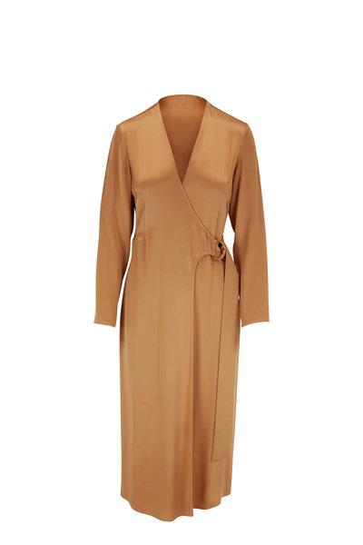 Sally LaPointe - Camel Satin D-Ring Long Sleeve Wrap Dress