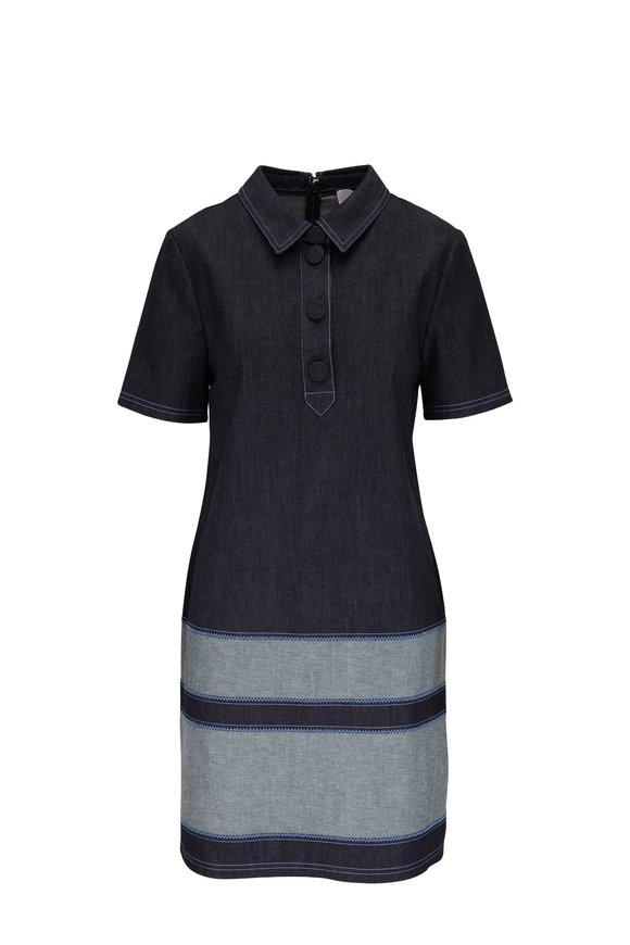 Carolina Herrera Dark Navy Denim Short Sleeve Dress
