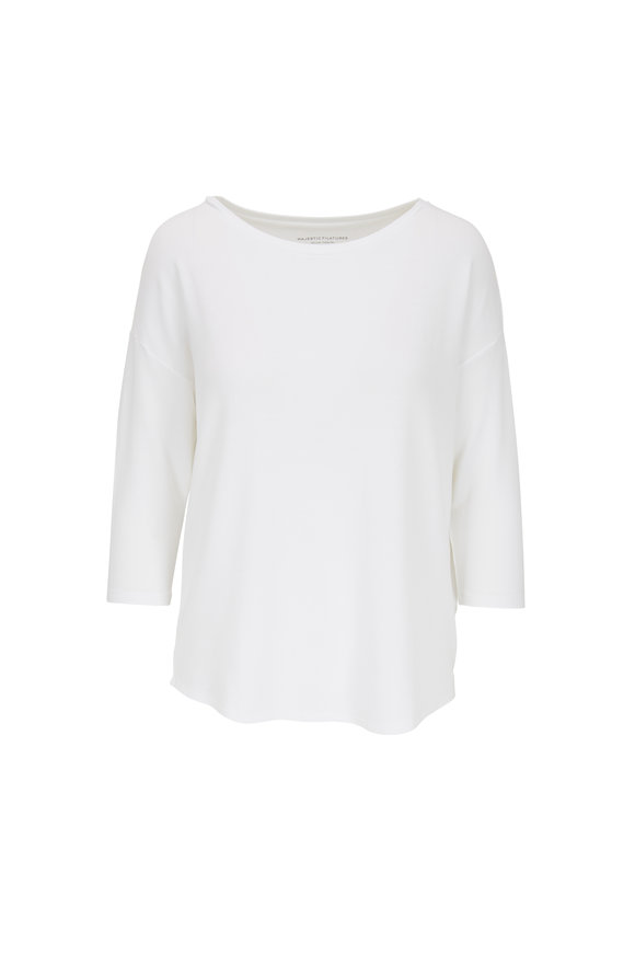 Majestic White French Touch Three-Quarter Sleeve T-Shirt