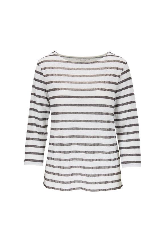 Majestic White & Metallic Navy Stripe Stretch Linen T-Shirt
