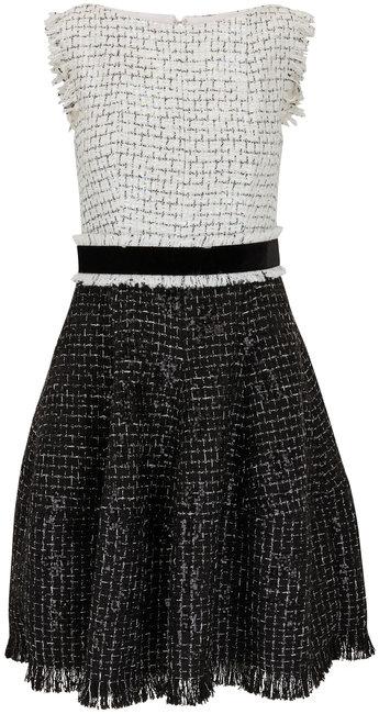 Talbot Runhof Golo23 Black & White Tweed Sleeveless Dress