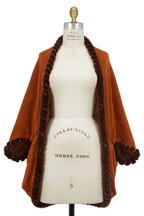 Viktoria Stass - Rust Cashmere Knit & Mink Fur Infinity Cape