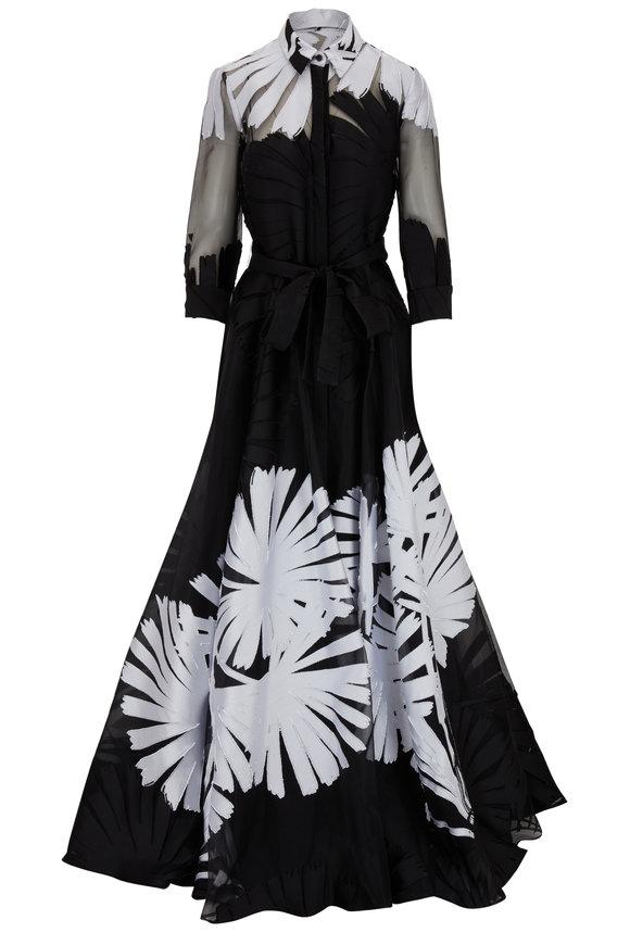 Carolina Herrera Black & White Silk Organza Palm Leaf Jacquard Gown