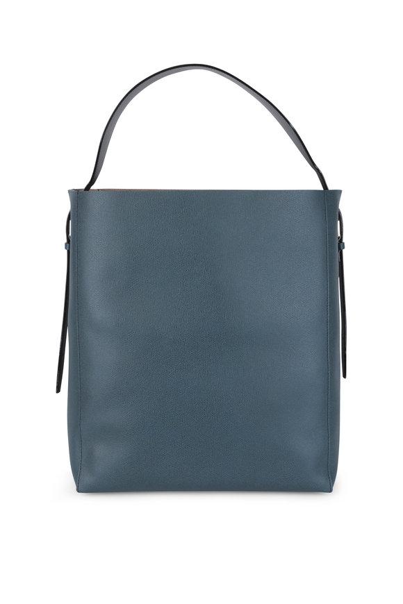 Valextra Sacca Blue Leather Medium Soft Tote