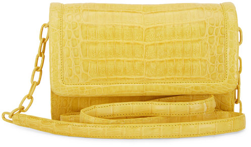 Nancy Gonzalez Yellow Crocodile Large Chain Wallet