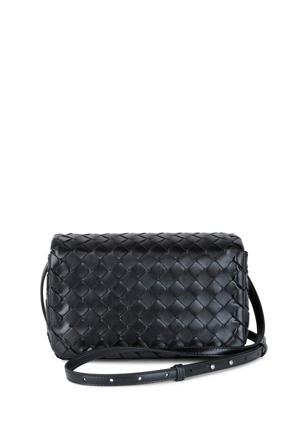 Bottega Veneta Black Woven Leather Crossbody Bag