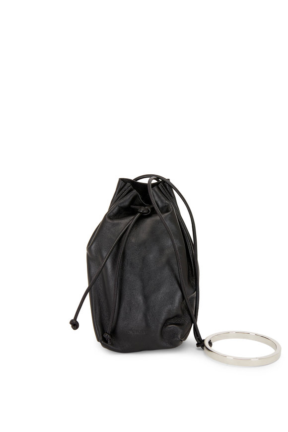 Jil Sander Black Leather Bracelet Handle Mini Bucket Bag