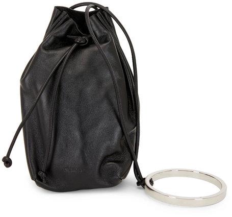 Jil Sander Black Leather Bracelet Handle Mini Bucket Bag