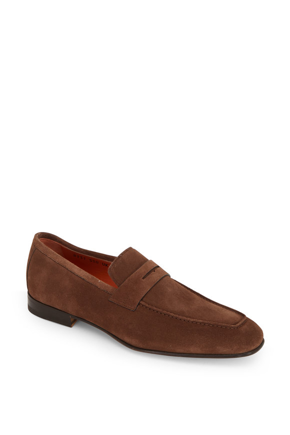 Santoni Imam Brown Suede Penny Loafer