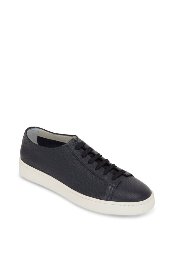 Santoni Cleanic Navy Blue Leather Low- Top Sneaker