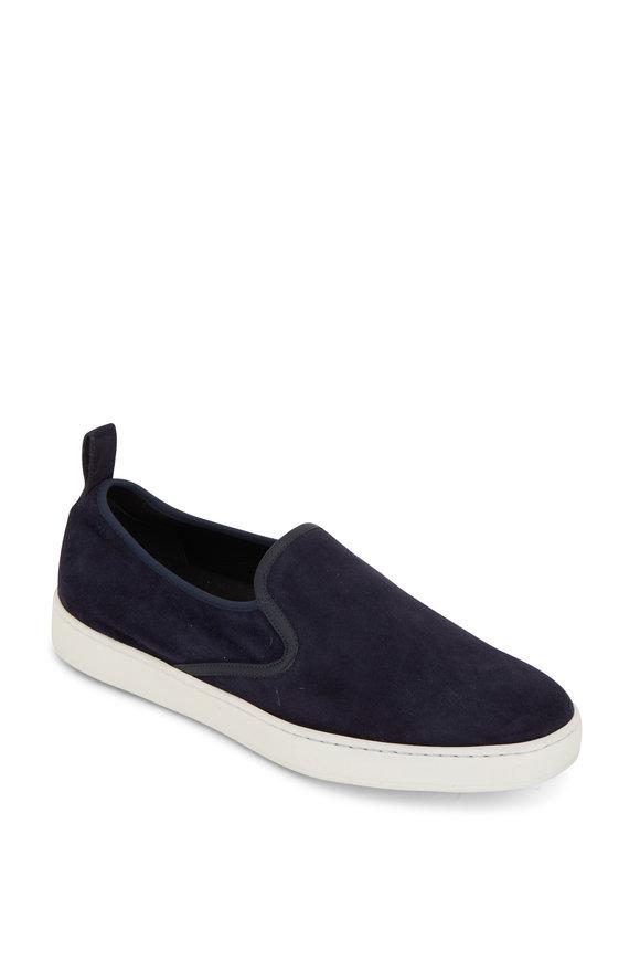 Santoni Panel Navy Blue Suede Slip-On Sneaker