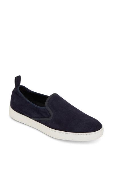 Santoni - Panel Navy Blue Suede Slip-On Sneaker