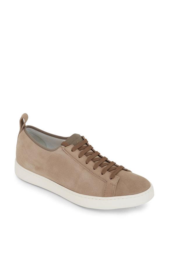 Santoni Inhabit Beige Suede Soft Sneaker