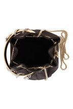 Jimmy Choo - Bon Bon Black Satin Crystal Snake Handle Bag