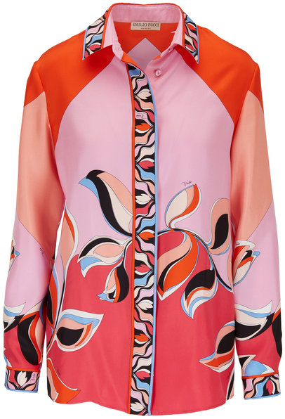 Pucci Orange & Pink Printed Silk Blouse