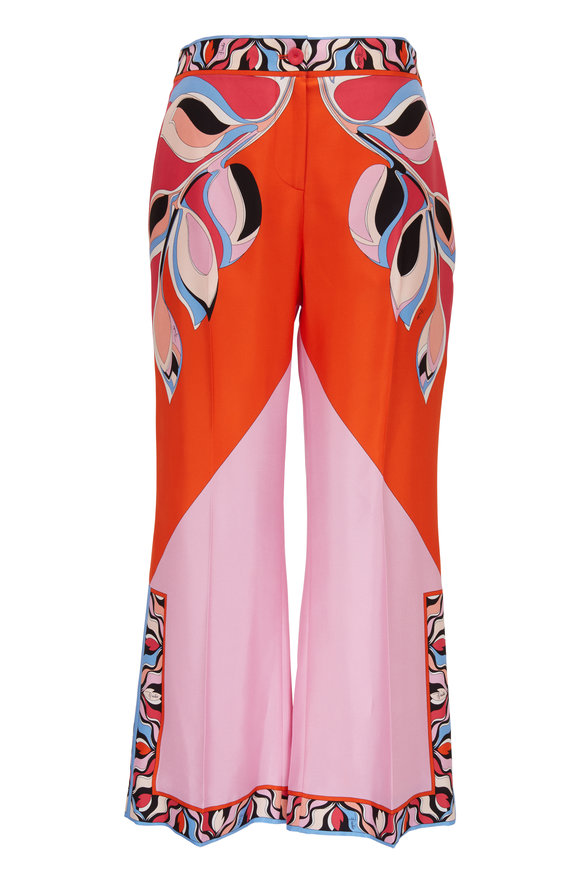 Pucci Orange & Pink Silk Printed Crop Pant