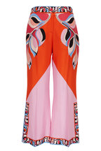 Pucci - Orange & Pink Silk Printed Crop Pant