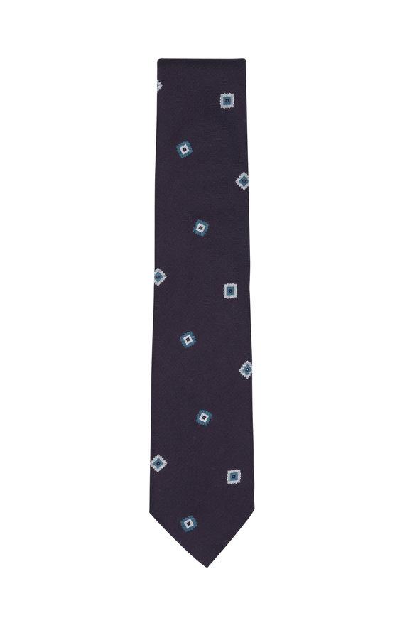 Brioni Plum & Teal Medallion Silk Necktie