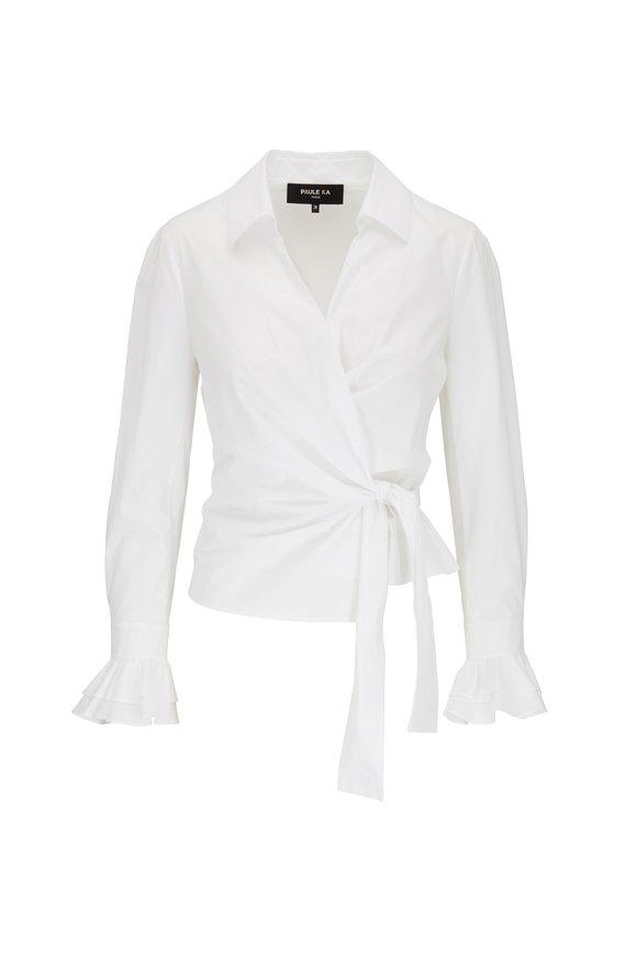 Paule Ka White Poplin Front Tie Wrap Top