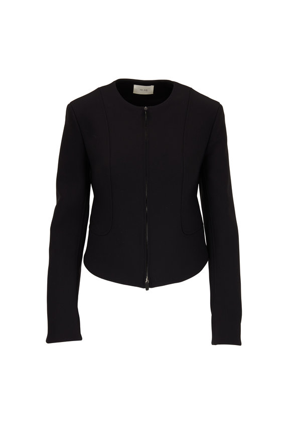 The Row Saori Black Fitted Front Zip Jacket
