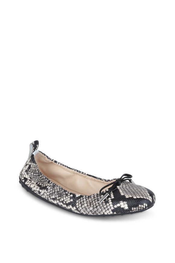 Tod's Gray & Black Snake Print Leather Flat