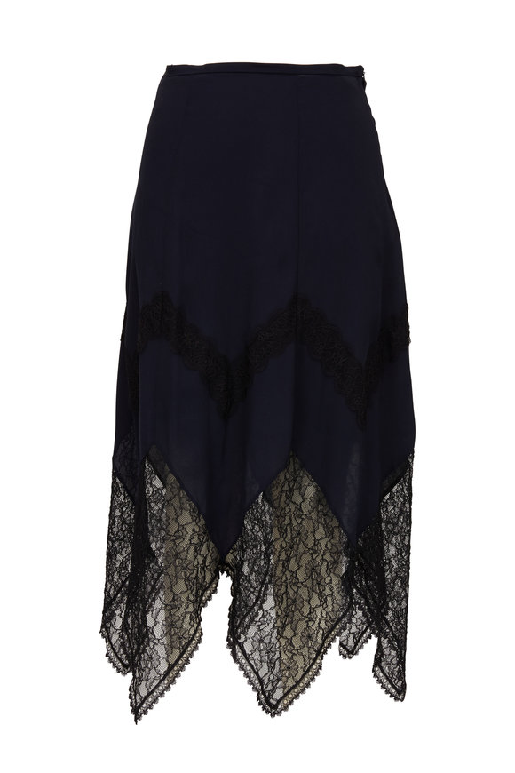 See by Chloé Ink Navy & Black Lace Hem Skirt