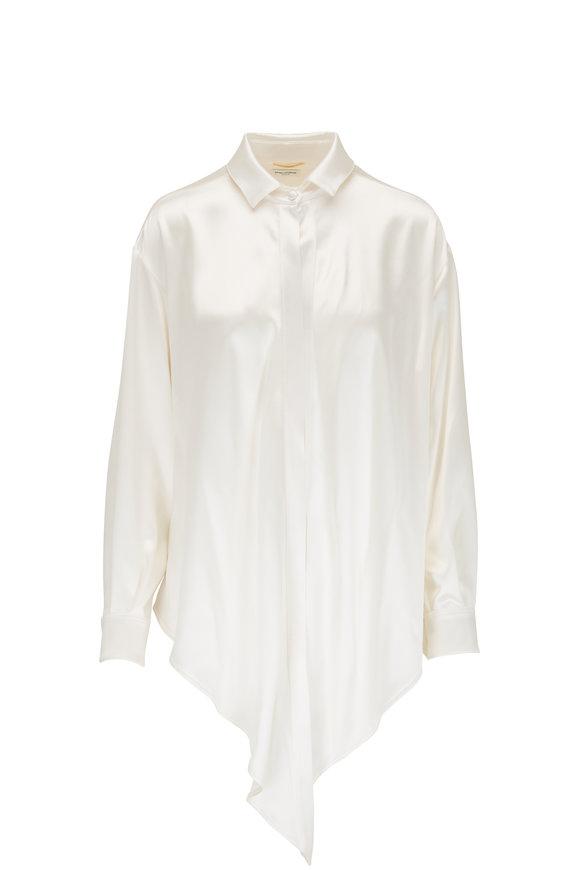 Saint Laurent White Satin Single Button Blouse