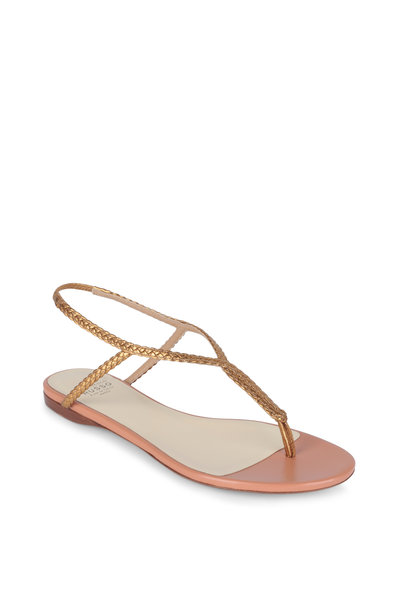 Francesco Russo - Gold Laminated Leather Thong Sandal