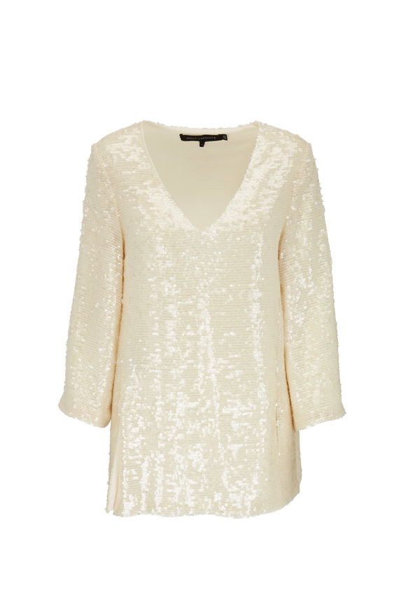 Sally LaPointe Cream Sequin V-Neck Tunic