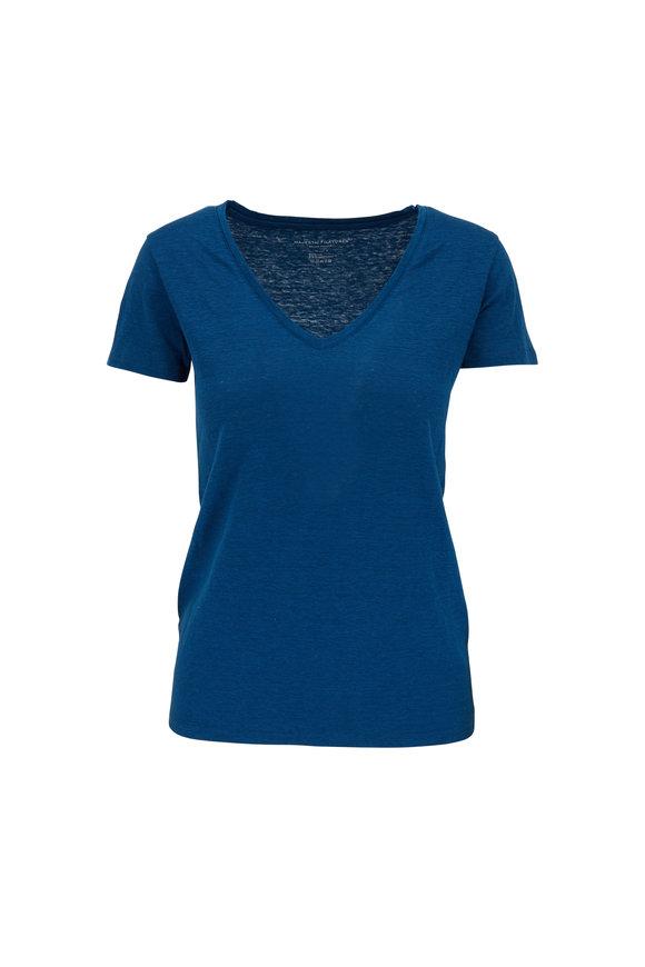 Majestic Blue Stretch Linen V-Neck T-Shirt