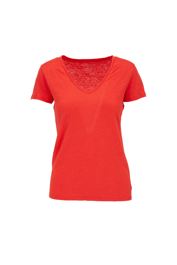 Majestic Red Stretch Linen V-Neck T-Shirt