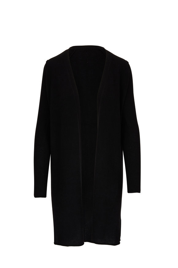 Raffi  Black Cashmere Seamed Open Cardigan