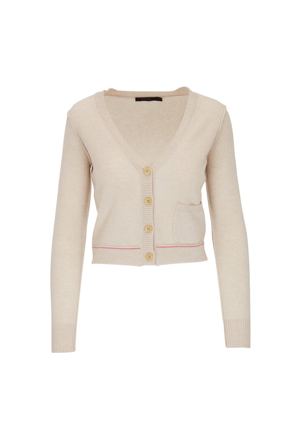 Raffi  Oat Cashmere Single Pocket Cropped Cardigan