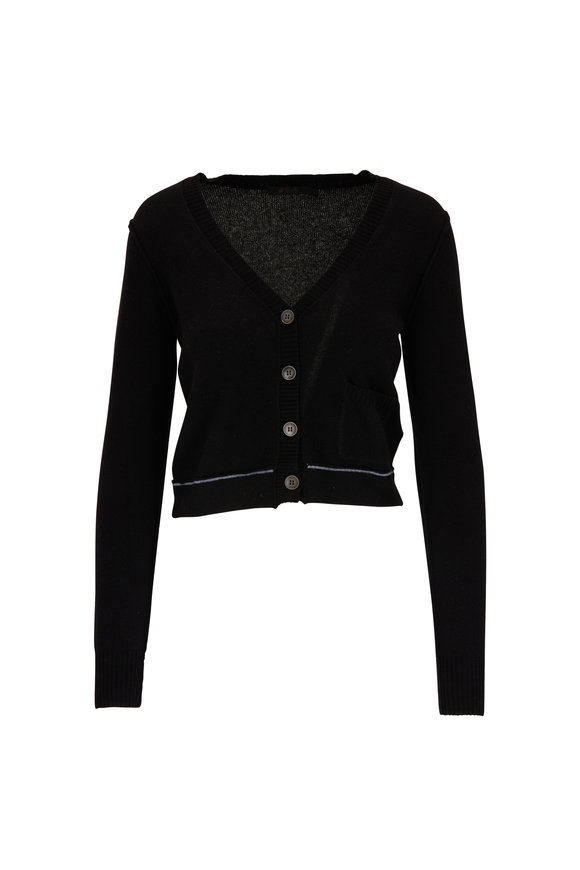 Raffi  Black Cashmere Single Pocket Cropped Cardigan
