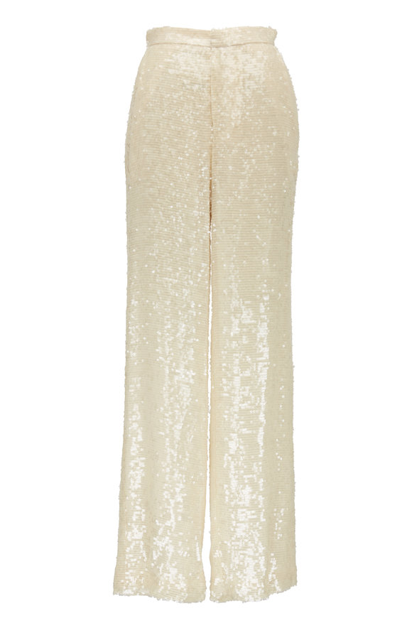 Sally LaPointe Cream Sequin High Waist Pant