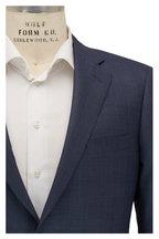 Samuelsohn -  Navy Blue Birdseye Wool & Silk Windowpane Suit