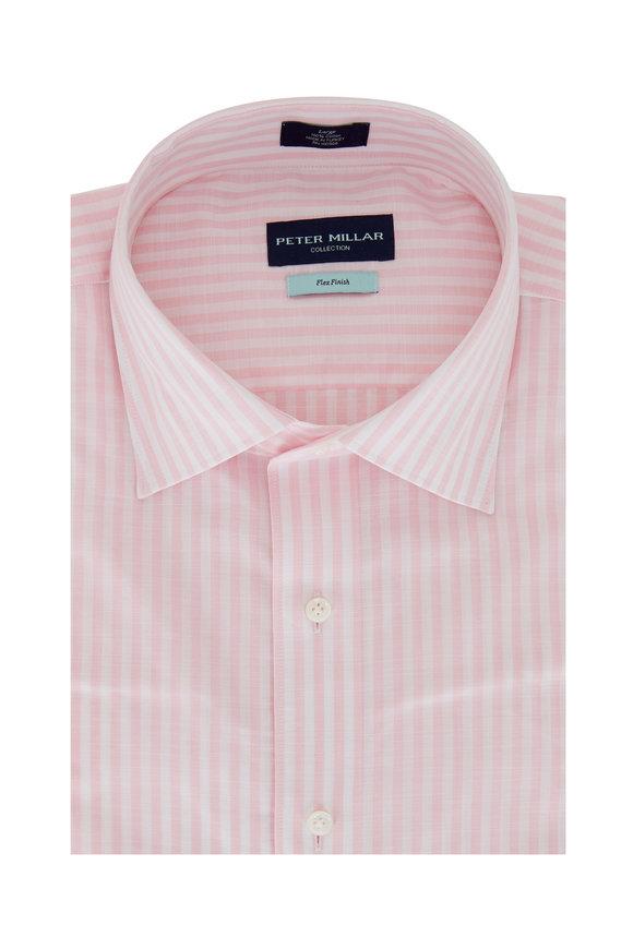 Peter Millar Summer Light Pink Chambray Striped Sport Shirt