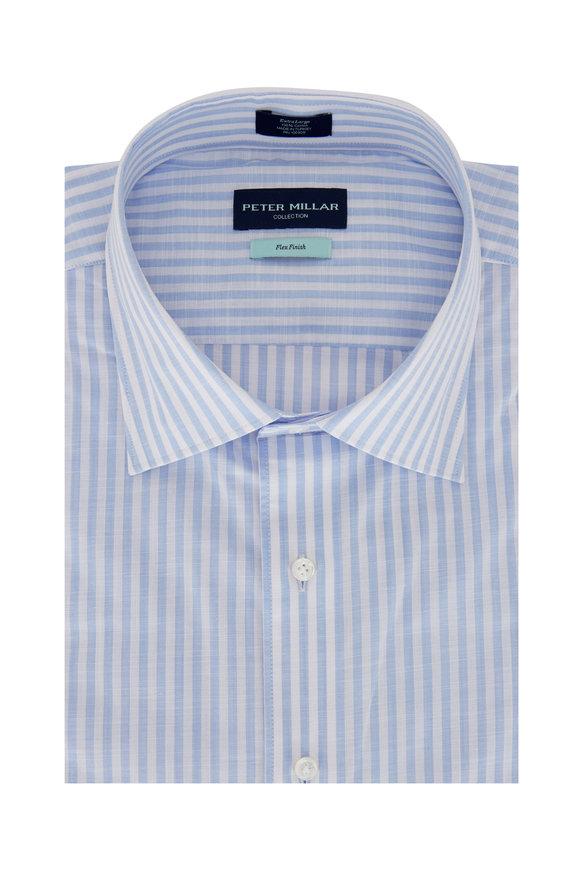 Peter Millar Summer Light Blue Chambray Striped Sport Shirt