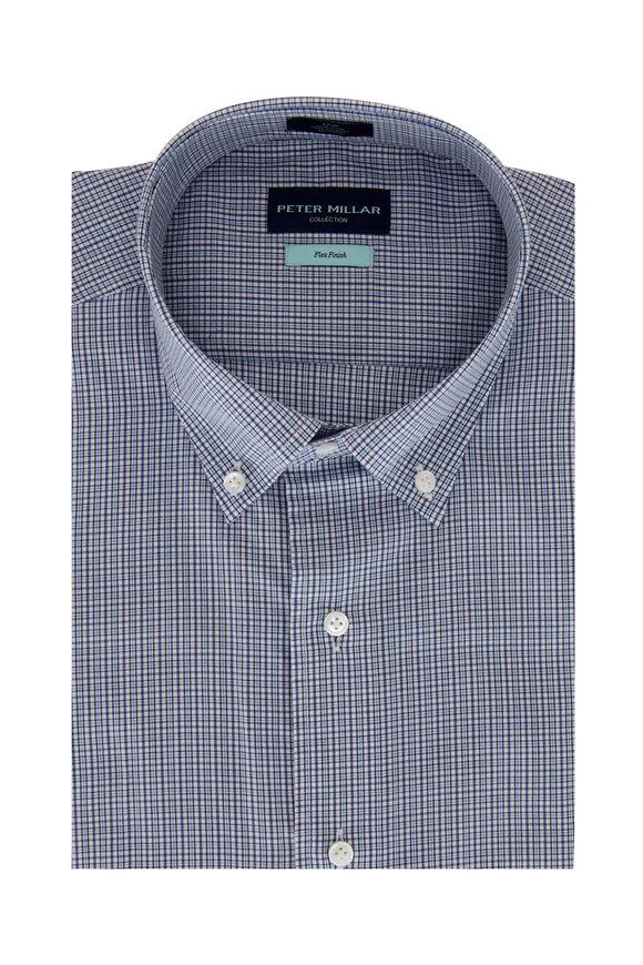 Peter Millar Navy Blue Plaid Sport Shirt